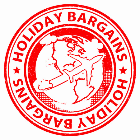 bargains: Holiday Bargains Representing Discounts Reduction And Getaway Stock Photo