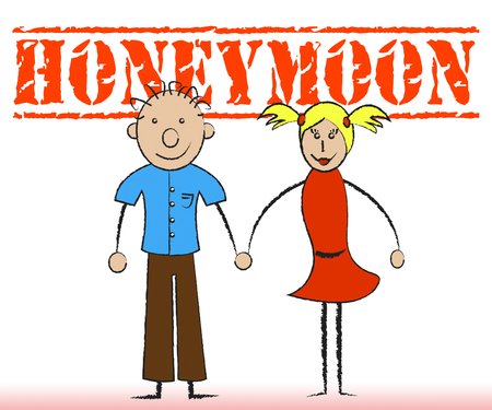 honeymoons: Honeymoon Couple Representing Married Couples And Destinations Stock Photo