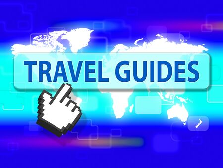 guides: Travel Guides Indicating Guidebook Vacations And Tour Stock Photo