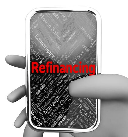 refinance: Refinance Online Meaning Web Site And Financing 3d Rendering