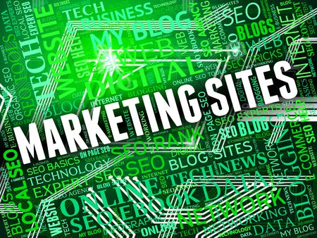 emarketing: Marketing Sites Meaning Search Engine And Seo Stock Photo