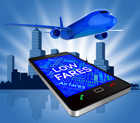 cost estimate: Low Fares Showing Current Prices And Plane 3d Rendering Stock Photo