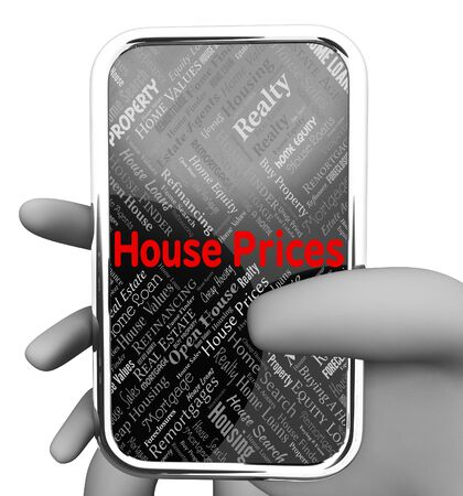 house prices: House Prices Showing Internet Searching And Houses 3d Rendering Stock Photo