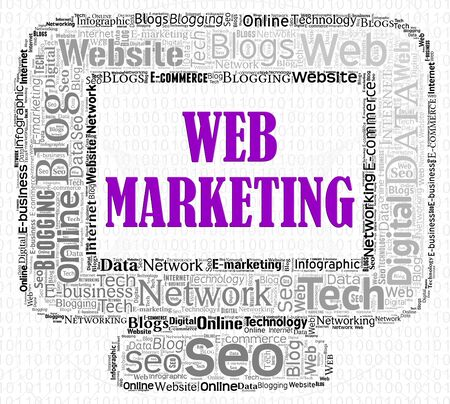web marketing: Web Marketing Meaning Search Engine And Computers Stock Photo