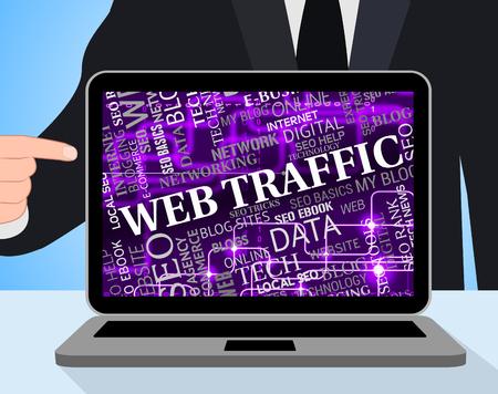 visitors: Web Traffic Representing Computing Visitors And Pc Stock Photo