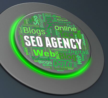 search engines: Seo Agency Showing Search Engines And Agencies 3d Rendering Stock Photo