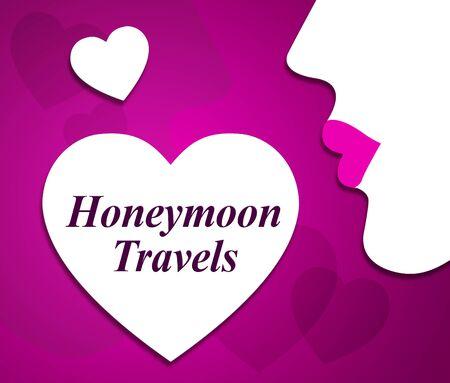 Honeymoon Travels Indicating Travelling Holidays And Getaway