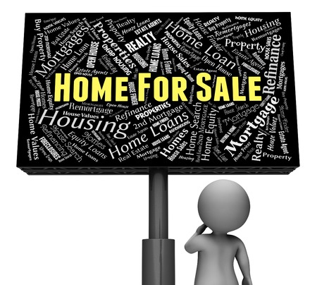 home sale: Home For Sale Representing On Market And Residential 3d Rendering Stock Photo