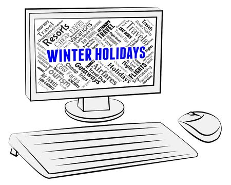 vacationing: Winter Holidays Showing Vacationing Wintertime And Computers Stock Photo