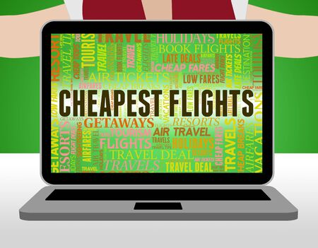 discounted: Cheapest Flights Indicating Low Cost And Promo Stock Photo