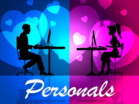 Indicando personales en línea del sitio web y la publicidad