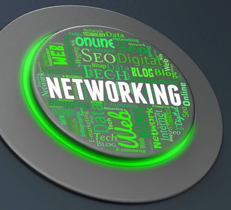 networked: Networking Button Representing Global Communications And Networked 3d Rendering