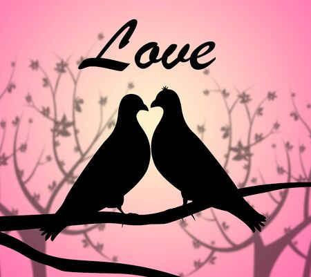 compassionate: Love Doves Indicating Compassionate Loved And Heart