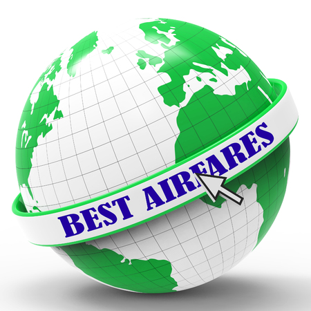 bargains: Best Airfares Meaning Bargains Flights And Aircraft 3d Rendering