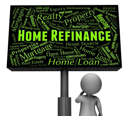 refinancing: Home Refinance Representing Refinancing Housing And Board 3d Rendering Stock Photo