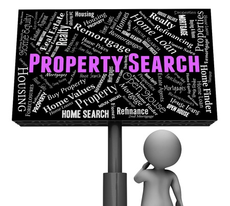 housing search: Property Search Indicating Signboard Placard And Signs 3d Rendering Stock Photo
