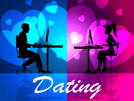 sweethearts: Dating Online Representing Web Site And Sweethearts Stock Photo