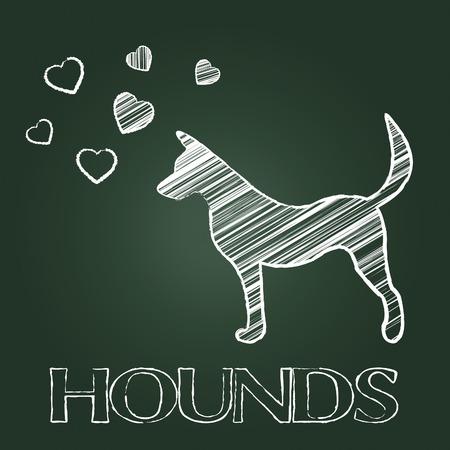 hound dog: Hound Dog Showing Pet Doggy And Puppy
