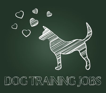 doggy position: Dog Training Jobs Representing Coaching Trained And Pups Stock Photo