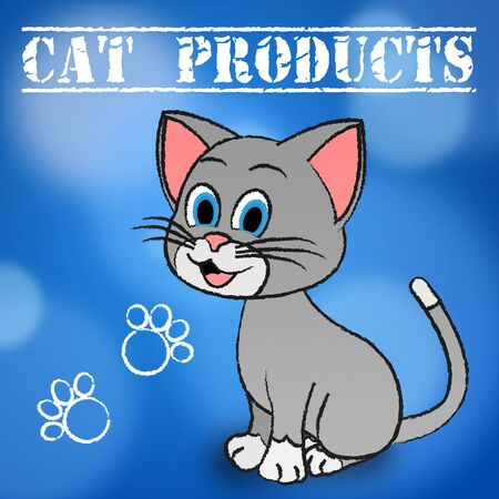 pedigree: Cat Products Showing Feline Pedigree And Shopping Stock Photo