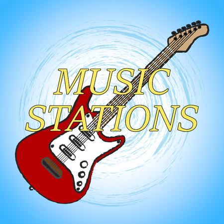 transmitting: Music Stations Representing Recording Studio And Transmitting Stock Photo