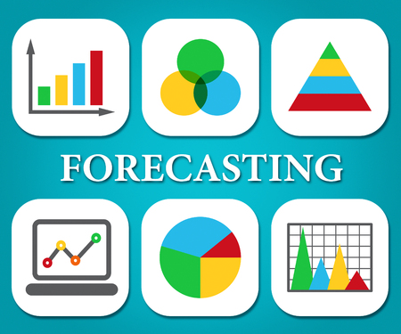 predicted: Forcasting Charts Indicating Business Graph And Statistics Stock Photo