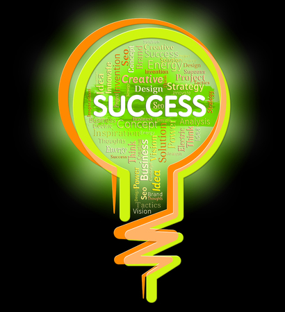triumphant: Success Lightbulb Indicating Win Succeed And Winner