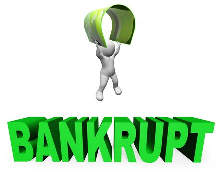owe: Credit Card Bankrupt Showing Financial Problem And Crisis 3d Rendering Stock Photo