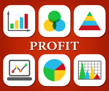 lucrative: Profit Charts Indicating Business Graph And Lucrative Stock Photo