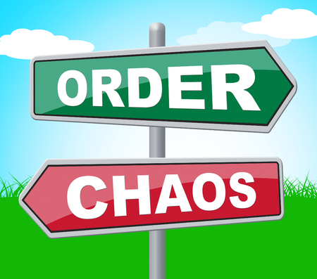 chaos order: Order Chaos Meaning Reorganisation Template And Organized Stock Photo