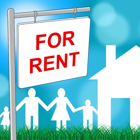leases: For Rent Indicating Placard Household And Rental Stock Photo