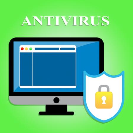 antivirus software: Computer Antivirus Representing Malicious Software And Digital
