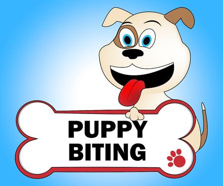 doggie: Puppy Biting Representing Attack Doggie And Bite