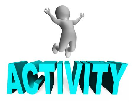 lively: Activity Character Representing Jump Lively And Man 3d Rendering Stock Photo