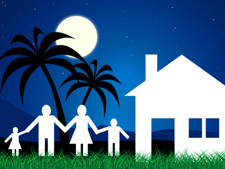 kin: Vacation Home Showing Tropical Island And Children Stock Photo
