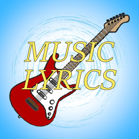 letras musicales: Music Lyrics Showing Sound Track And Melody Foto de archivo