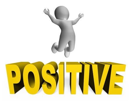 positivity: Positive Character Indicating Jumps Illustration And Positivity 3d Rendering Stock Photo