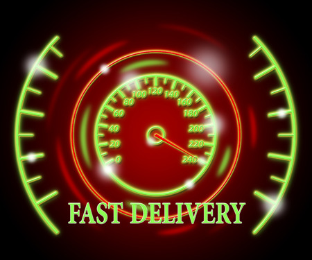 faster: Fast Delivery Showing Faster Quicker And Speed Stock Photo