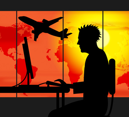 travel agent: Travel Agent Meaning Working Workplace And Journey Stock Photo