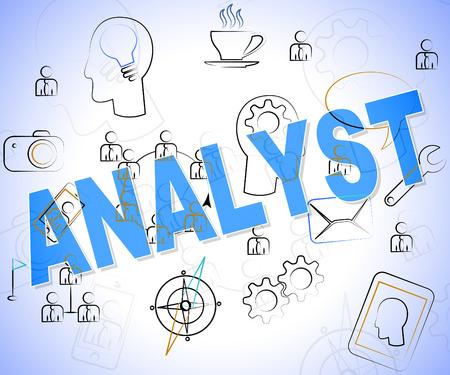investigaci�n: Analista de Word que muestra el an�lisis de datos y la investigaci�n Foto de archivo