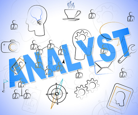 investigates: Analyst Word Showing Data Analysis And Investigation Stock Photo