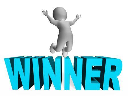 triumphant: Winner Character Representing Victors Success And 3d Rendering