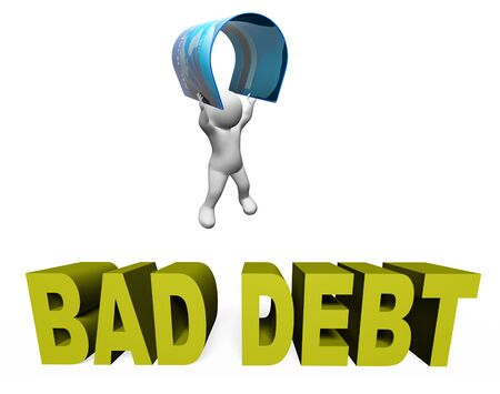 indebt: Bad Debt Indicating Financial Obligation And Loan 3d Rendering