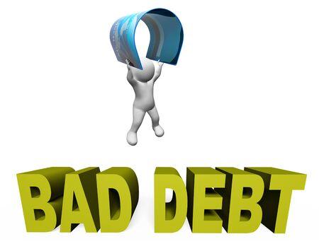 indebtedness: Bad Debt Indicating Financial Obligation And Loan 3d Rendering
