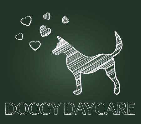 canines: Doggy Daycare Representing Preschool Canines And Child Stock Photo