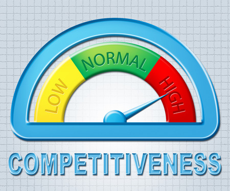 competitividad: High Competitiveness Meaning Contention Compare And Dial Foto de archivo