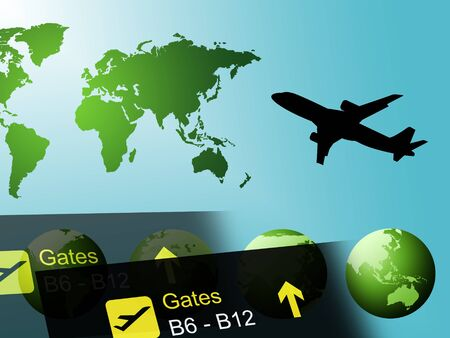 globally: World Travel Indicating Flights Globally And Tours Stock Photo