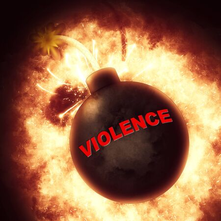 savagery: Violence Bomb Indicating Brute Force And Savagery Stock Photo