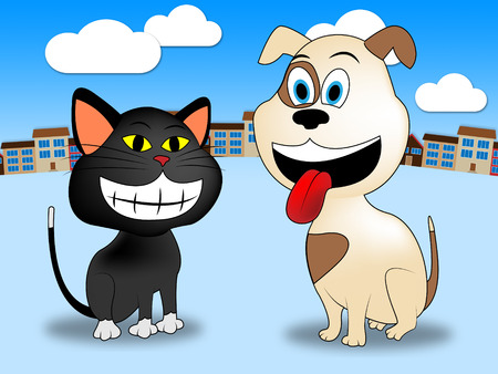 Town Pets Representing Domestic Cat And Doggy