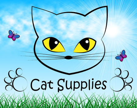 merchandise: Cat Supplies Indicating Shopping Merchandise And Pets Stock Photo